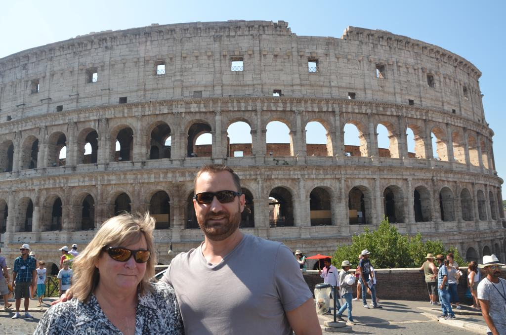 Susan with her son Aaron in Rome.